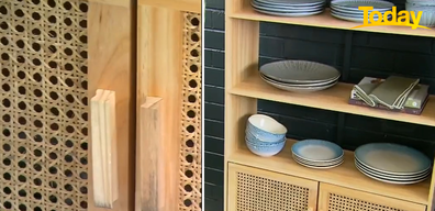 Kmart's rattan products are already best-sellers so they've extended the range with new products, including this kitchen cabinet.