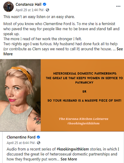 Her latest post was inspired by the work of Australian feminist Clementine Ford.