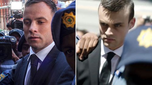 Pistorious entering court (left) and the man plauing him in the movie.