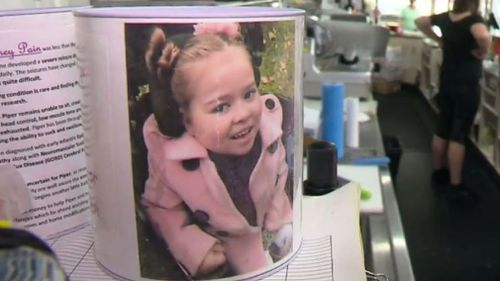 The charity tins raise funds for sick children including Piper Pain. (9NEWS