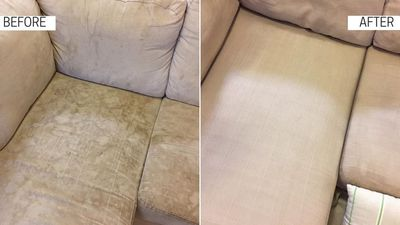 Stained couch - before & after