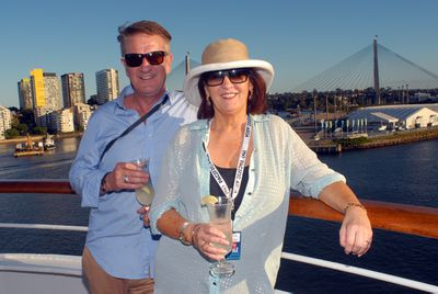 Kevin and Janetta leaving Sydney harbour.