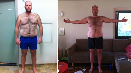 Before and after: Mr Taylor says his diet is already helping him to lose weight. (Facebook/Spud Fit)
