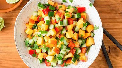 "Click through for our perky <a href=""http://kitchen.nine.com.au/2016/05/04/15/29/peach-salsa"" target=""_top"">peach salsa</a> recipe"