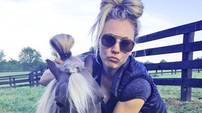Kaley Cuoco adopts miniature horse named Shmooshy who is her hair twin