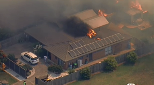One of the home son fire at Carrum Downs. (9NEWS)