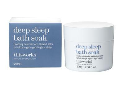 "<a href=""http://www.thisworks.com/deep-sleep-bath-soak.html"" target=""_blank"">This Works Deep Sleep Bath Soak, $47.</a>"
