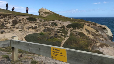 Visitors to Dunedin's Tunnel Beach ignore a barrier fence and signs in order to take photos near a cliff edge.