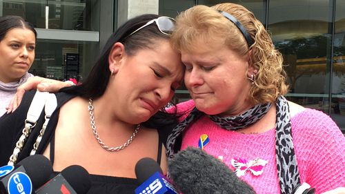 Ms Locke (right) outside court after Mead was found guilty of Sherelle's murder.