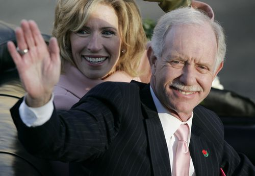 """Hero pilot Chesley """"Sully"""" Sullenberger with his wife Lorrie in 2010."""