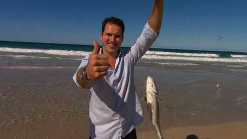 Peter Stefanovic with one of his catches. (9NEWS)