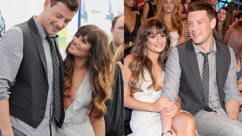 Glee's Lea Michele and Cory Monteith make it official with PDA on the red carpet