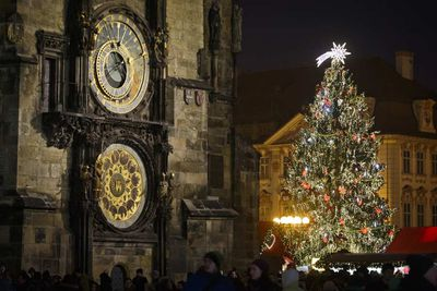 In the Old Town Square in Prague, Czech Republic, stands an enormous Christmas tree. (Matej Divizna/Getty)
