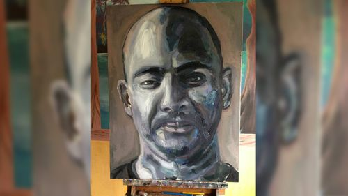 One of Sukumaran's self portraits painted while behind bars. (Facebook)