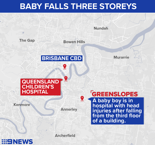Brisbane baby suffers head injuries after falling from third-floor of apartment