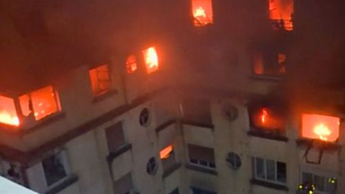 The fire quickly spread through the apartment building say authorities.
