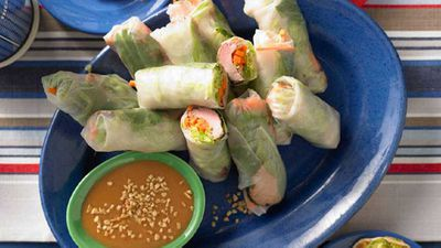 "<strong><a href=""http://kitchen.nine.com.au/2016/05/16/15/24/hoisin-pork-ricepaper-rolls"" target=""_top"">Hoisin pork rice-paper rolls</a> recipe</strong>"