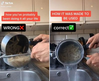Man draining a pot of pasta two different ways