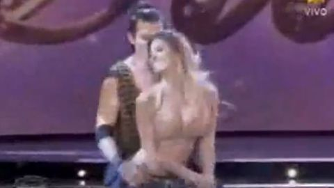 Model knocked out on Argentinian dance show