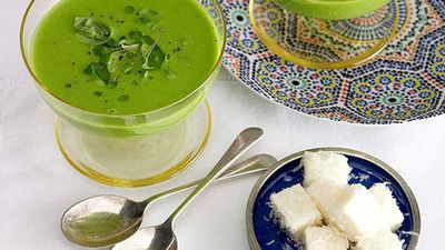 """Recipe: <a href=""""http://kitchen.nine.com.au/2016/05/16/19/42/green-pea-soup-with-parmesan-marshmallow"""" target=""""_top"""">Green pea soup with parmesan marshmallow</a><br> <br>"""