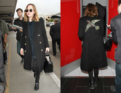 Dakota Johnson gets bonus mile high points for her pared back approach to her Gucci coat  with washed denim and studded boots at the airport.