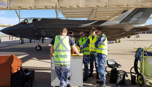 Luke Air Force Base near Phoenix, Arizona is the site of departure for Australia' two new F35 stealth planes.