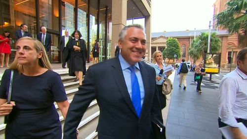 A smiling Joe Hockey outside court. (9NEWS)