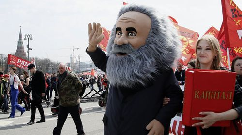 Russians celebrated revolutionary Karl Marx in Moscow. (AP).