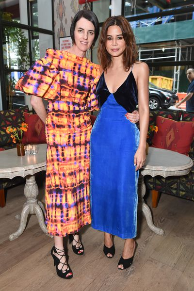 Stylists Jillian Davison in Ellery and Christine Centenera in Dion Lee at the Australian Fashion Foundation 2017 summer party at The Whitby Hotel, New York.