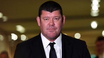 James Packer leaves the Crown Resorts AGM at the Crown Casino in Melbourne, in 2017.