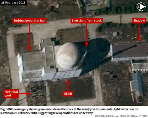 A 2018 photo of the the Yongbyon experimental light water reactor in North Korea.