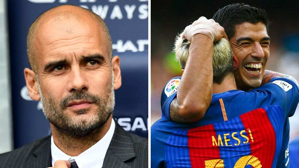 Pep Guardiola (r) will return to face Barcelona in the froup stages of the Champions League. (AAP)