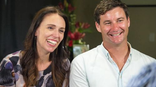 Ms Ardern and her partner Clarke Gayford. Picture: 60 Minutes