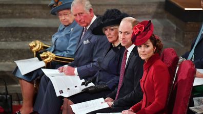 Queen Elizabeth, Prince Charles, Duchess of Cornwall, Prince William, Duchess of Cambridge attend Commonwealth Day Service 2020 on March 9, 2020 in London