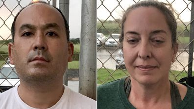 Wesley Moribe (left) and Courtney Peterson (right) of Wailua, Hawaii, were arrested after allegedly flying back to their home state knowing they had tested positive for COVID-19.