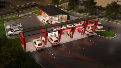 KFC Australia renderings of new 'drive through only' concept store in Newcastle