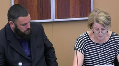 Barbara Spriggs, accompanied by son Clive Spriggs, gives evidence at the aged care royal commission.