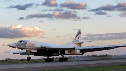 File photo of Russia's strategic bomber Tu-160 - or White Swan - the largest supersonic bomber in the world, at Engels Air Base near Saratov.