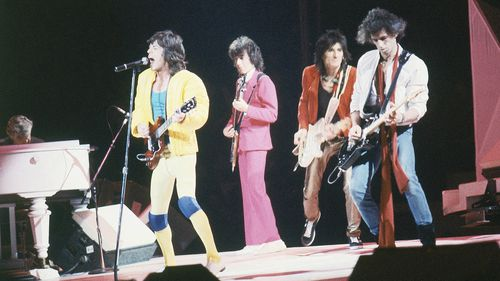 Keith Richards (far right) performs with the Rolling Stones at Madison Square Garden in New York in 1981.