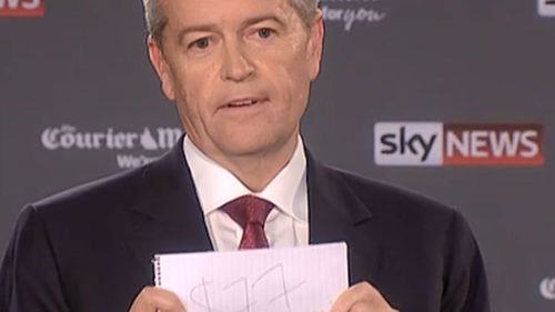 Bill Shorten holding up a piece of paper that reads $77 billion.