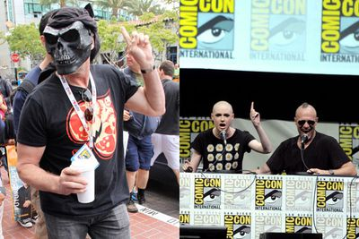 <i>Walking Dead</i> star Michael Rooker tried to go incognito in a skull mask, before hitting the stage for the Marvel panel with a now bald <b>Karen Gillan</b>.<br/><br/>Images: Zodiac / Splash News/Getty