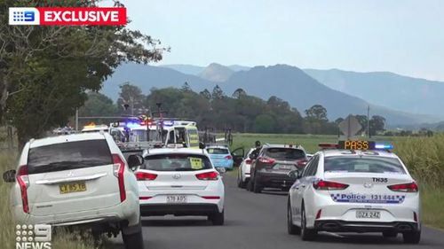 Scene of the horrific smash during the Men's National Road Series on the NSW north coast.