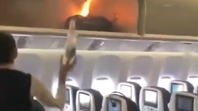 Hand luggage bursts into flames on plane