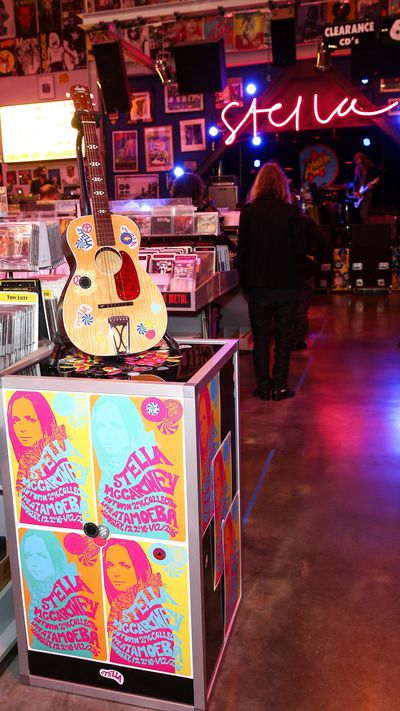 Los Angeles' iconic Amoeba Music store last night played backdrop to not only Stella McCartney's pre-fall 2016 presentation, but one of the biggest gatherings of music royalty in recent history. No doubt they swapped stories of time spent with Bowie between cruising for records and fawning over McCartney's pieces. As for what Lily-Rose Depp and Marilyn Manson had to talk about, your guess is as good as ours...