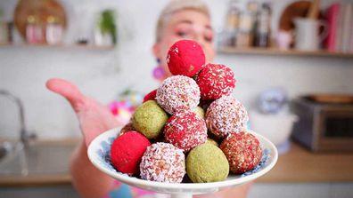 Jane de Graaff's apple-oat and raspberry lamington bliss balls