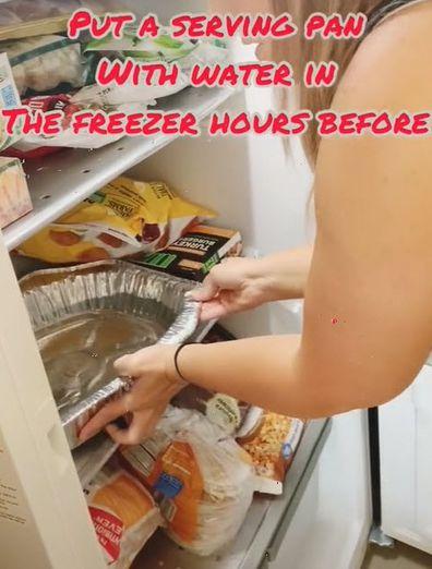 Place water in freezer cut fruit