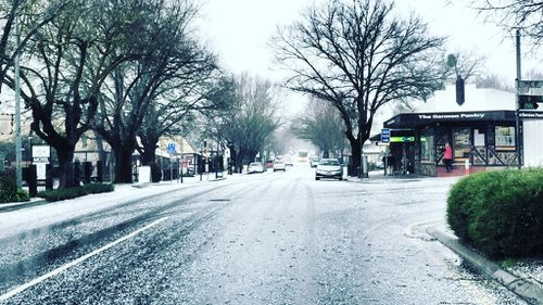 A dusting of hail in Hahndorf, in the Adelaide Hills. (Sarah Clark)