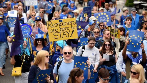 Protesters rally in defiance of Brexit