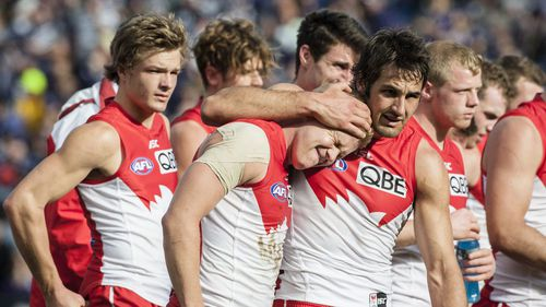Heartbreak for the beaten Swans. (AAP)