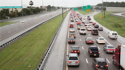 Florida highways were clogged with people evacuating in the face of the storm. (AP)